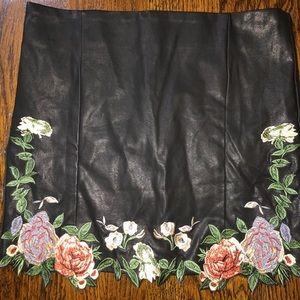 Black Leather Floral Skirt